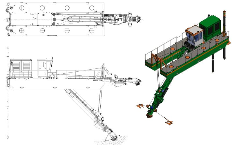 ECO 200 Cutter Suction Dredger - General Arrangement - Dredge Yard