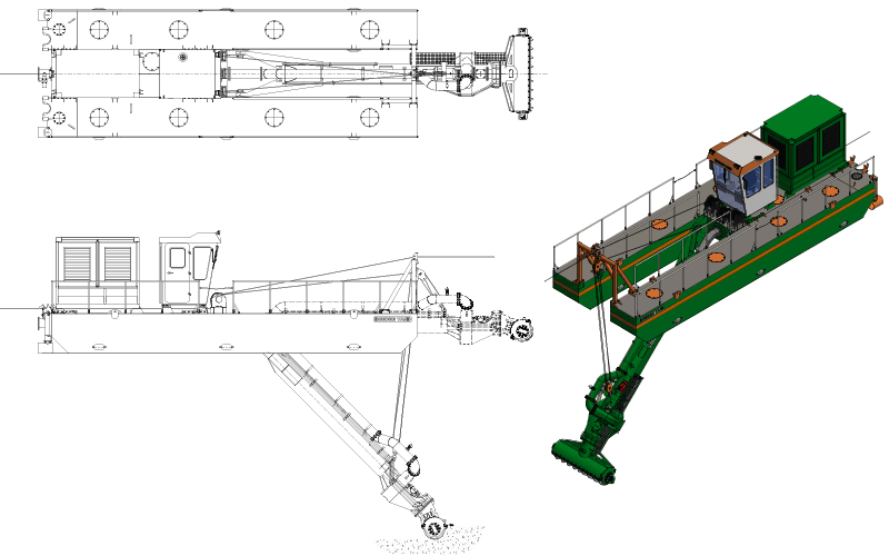 ECO 250 Auger Dredger - General Arrangement - Dredge Yard