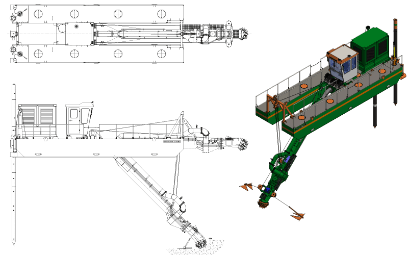 ECO 300 Cutter Suction Dredger - General Arrangement - Dredge Yard