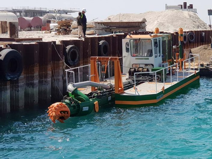 Cutter suction dredger at construction site - Dredge Yard