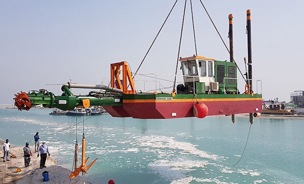 Cutter Suction Dredger launched by crane