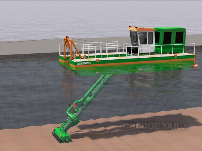 Adaptive auger head dredger in operation