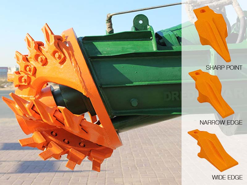 cutter dredger with exchangeable teeth