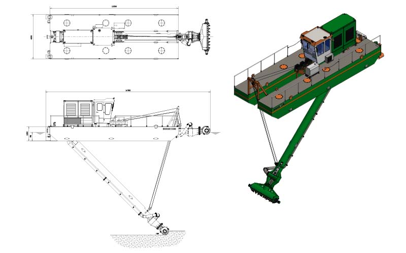 Auger Dredger 200 in Stock - general arrangement