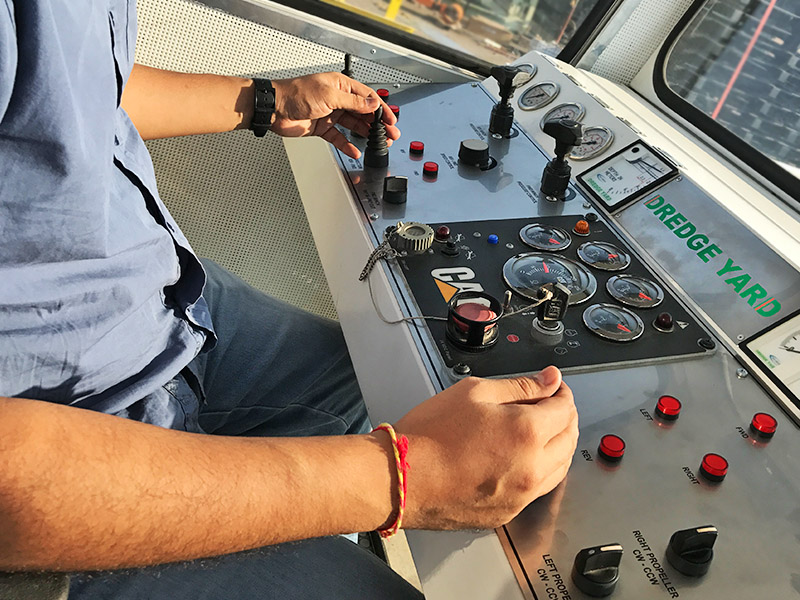 ECO dredger controls in control cabin