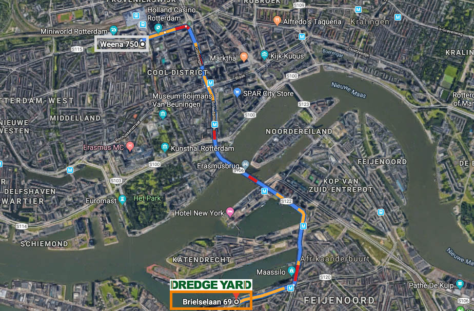 Map route from old to new headquarters of Dredge Yard