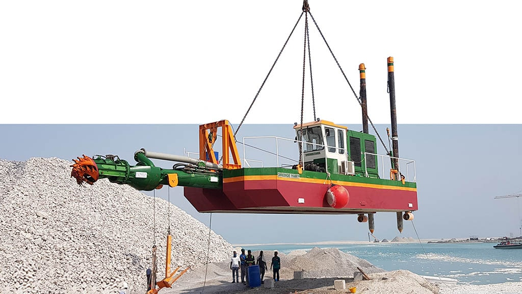 Cutter Suction Dredger ECO lifted by crane