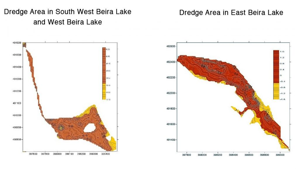 Dredging areas in Beira Lake