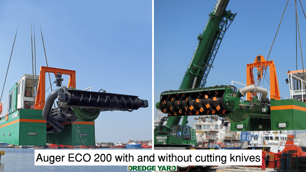 Auger dredger with removable cutting knives