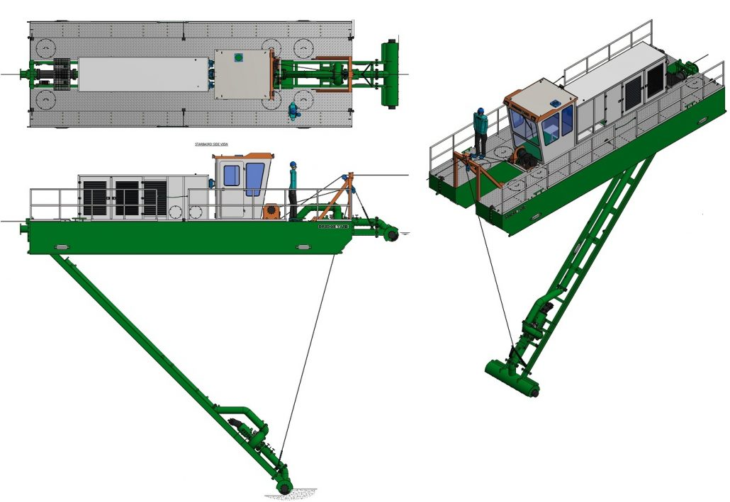 general arrangement of suction auger dredger