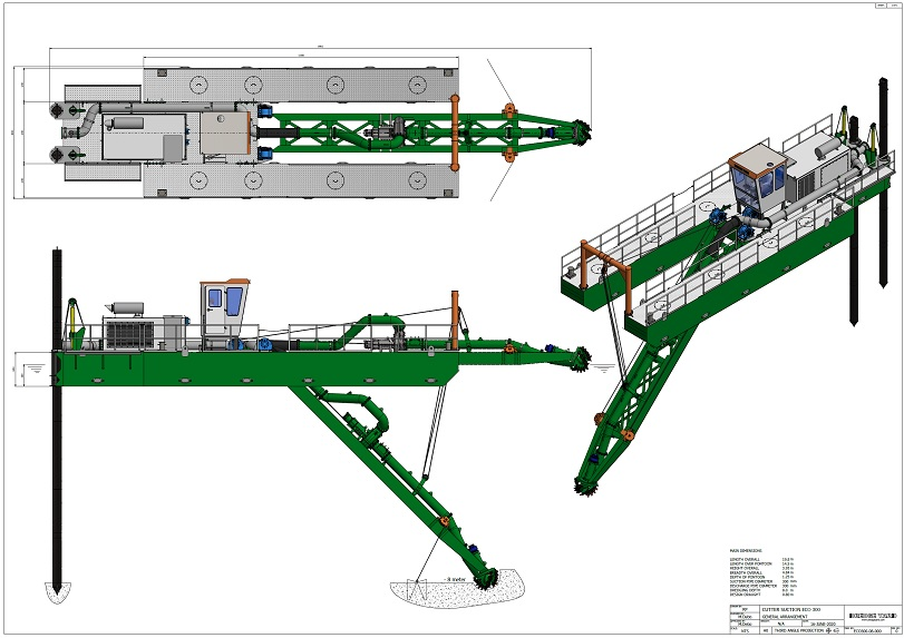 ECO300 cutter suction dredger general arrangement