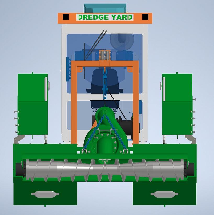auger dredger folded for transport